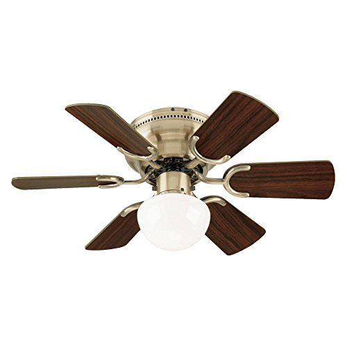 Westinghouse Lighting 7215800 Petite Single-Light 30-Inch Reversible Six-Blade Indoor Ceiling Fan, Antique Brass with Opal Mushroom Glass, Includes Bulb ()