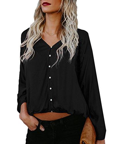 avec Tops Mode t Blouses Col Femme Bouton ulein Couleur V Shirts Fox Manches Unie Lache Fr Longues Casual Noir Haut FIP0B