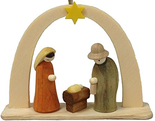Nativity Scene German Wood Christmas Arch Ornament Handcrafted in Germany