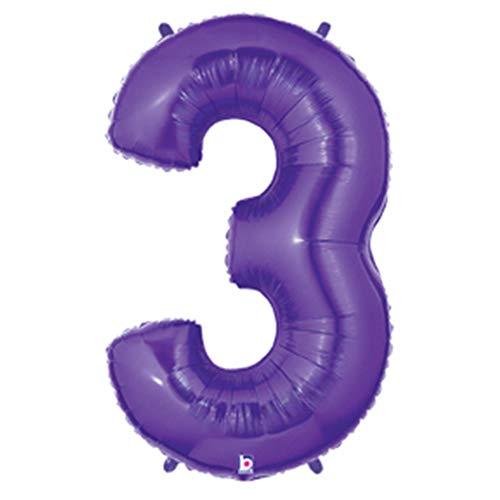 Betallic Foil Balloon 15843PB Number 3 - Purple Megaloon, 40,