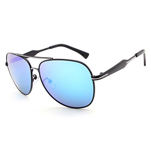 Y.H.W.U.S Eyewear Sunglasses Sunglasses for Men Pilot Metal Sunglasses Mirror Colorful Lens Fashion Cool Eyewear Retro (Color : Blue)