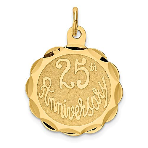 14k Yellow Gold 25th Anniversary Disc Pendant Charm Necklace Special Day Fine Jewelry Gifts For Women For Her ()