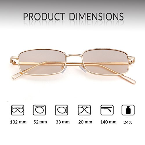 Glasses Champagne Lens Men Fashion for Sunglasses Frame Women Square ADEWU Retro Gold 0qzp8wI
