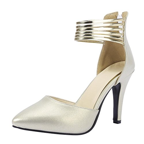Mee Shoes Women's Fashion High Heel Pointed Toe Ankle Strap Zip Court Shoes Light Gold kqLcvg