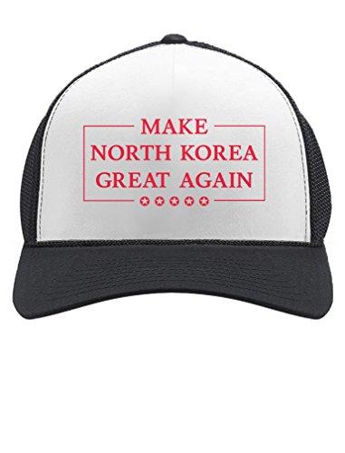 Tstars Make North Korea Great Again Funny Trump Kim Trucker Hat Mesh Cap One Size Black/White