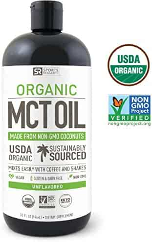 NEW!! USDA Organic MCT Oil made from only Coconut (32oz) ~ Non-Gmo Project Veified, Vegan, Keto and Paleo Diet Certified ~ Great for Coffee,Tea, Smoothies & Salad Dressings ~ Unflavored