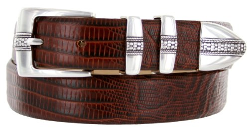 Lizard Dress Belt (Brandon Italian Calfskin Leather Designer Dress Golf Belt for Men (38, Lizard)