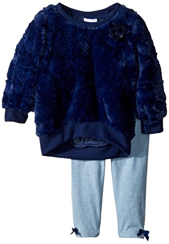 Nannette Baby Girls 2 Piece Embsosed Faux Fur Top and Legging Set