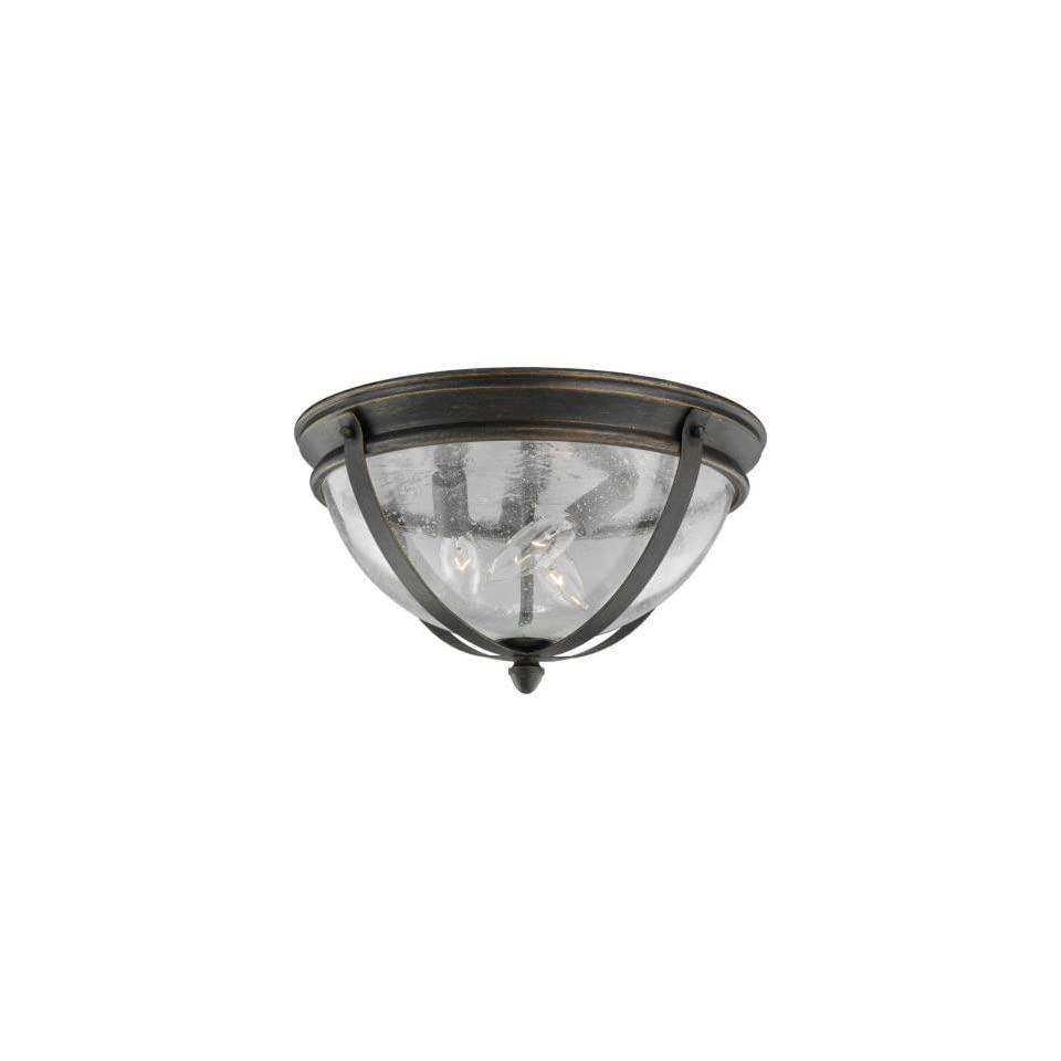 Sea Gull Lighting 78195 802 Three Light Outdoor Ceiling Fixture from the Kingston Collection, Obsidian Mist