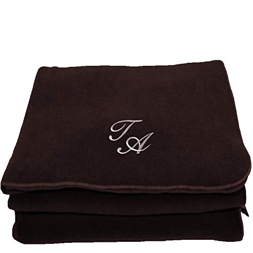 BgEurope Personalized Custom Embroidered Polar Sofa Bed Travel Fleece Blanket - Monogram - Brown