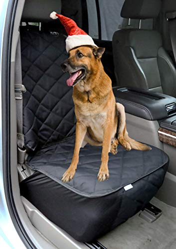 Plush Paws Co-Pilot Pet Car Seat Cover for Bucket Seats with Bonus Harness and Seat Belt for Cars, Trucks, SUVS and Vehicles - Black