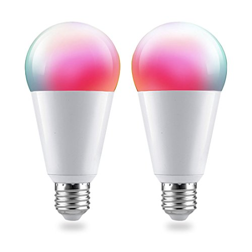 Smart LED Light Bulb, Wi-Fi, A21, Multicolour, Dimmable White, No Hub Required, 70W Equivalent,Compatible With Alexa and Google Assistant,Remote Control From Anywhere With Smart Phone(2-pack)