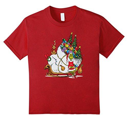 Dr Seuss Red Polyester (Kids Dr. Seuss Grinch Sleigh T-shirt 10 Cranberry)