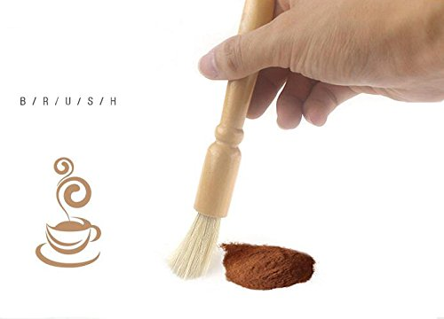 Coffee Grinder Cleaning Brush and Scoop 2 High quality natural fiber bristles & wooden handle, a well made sturdy brush for everyday use. This coffee grinder brush is specially designed to brush away coffee ground residue without damaging the blades. For proper maintenance it is essential to keep espresso equipment free of grounds and this brush is great for that. Helps maintain your expensive coffee equipment.