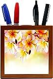 Rikki Knight Frangipani Tropical Spa Flower Design 5 Inch Tile Wooden Tile Pen Holder