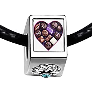 Chicforest Silver Plated Chocolate Valentine gifts Photo Blue Aquamarine Crystal March Birthstone Flower Charm Beads Fits Pandora Bracelet
