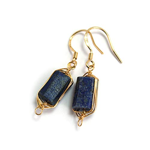 Ring Gold Plated Brass (Scutum Craft Natural Stone Dangle Drop Earrings with Gold Plated Wire Wrap and 925 Sterling Silver Hook Jewelry for Women (Lapis Lazuli Square 10mm))