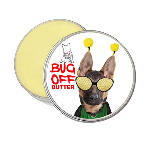 The Blissful Dog  Bug-Off Butter to Banish Biting Bugs with German Shepherd Label, 2-Ounce