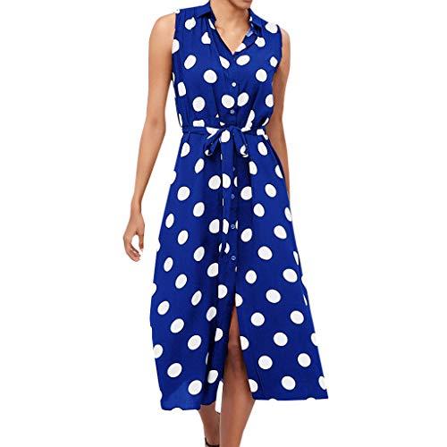 AKwell Women Boho Dress Polka Dot Prints V Neck Waist Lace Up Sleeveless Dress Scoop Sleeveless Mother Dress Dark Blue