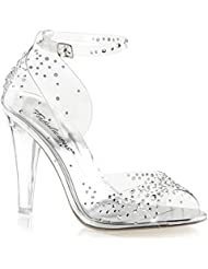 Summitfashions Womens Clear High Heel Shoes Ankle Strap Sandals Rhinestone 4 1/2 inch Heels