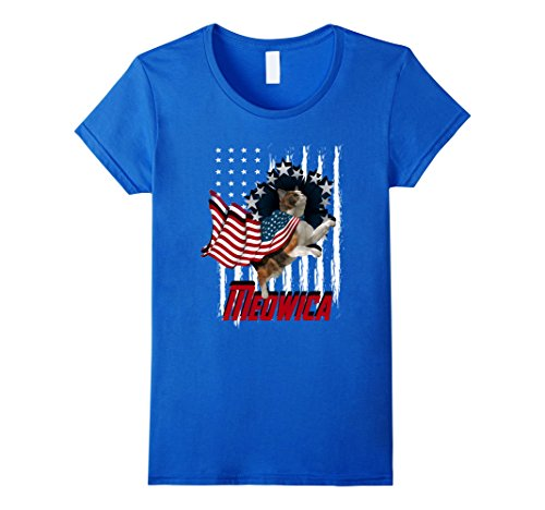 Womens Funny Cat American T-Shirt, Meowica American Flag Funny Cat Small Royal - Cat American Flag With