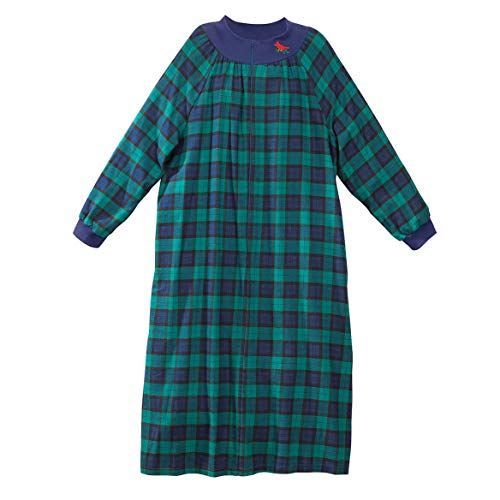 Lounger Flannel - Front Zip Plaid Flannel Lounger by Sawyer Creek