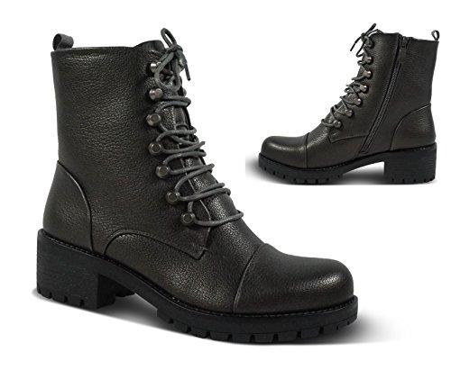 Damen Worker Stiefeletten Stiefel Schnürboots Boots Biker Outdoor STH75 Grau