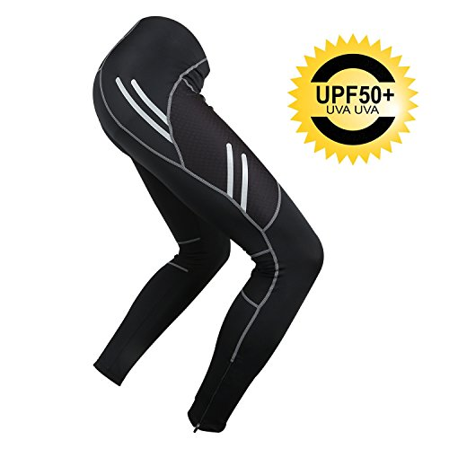 Mens Cycling Pants Padded UV Protection Cycling Tights Biking Bicycle Bike Pants Compression Leggings Night Safe and Quick Dry (US Size - 2XL)