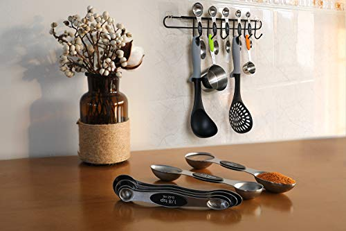 Magnetic Measuring Spoons Set of 6 Stainless Steel Dual Sided Stackable Teaspoon for Measuring Dry and Liquid Ingredients