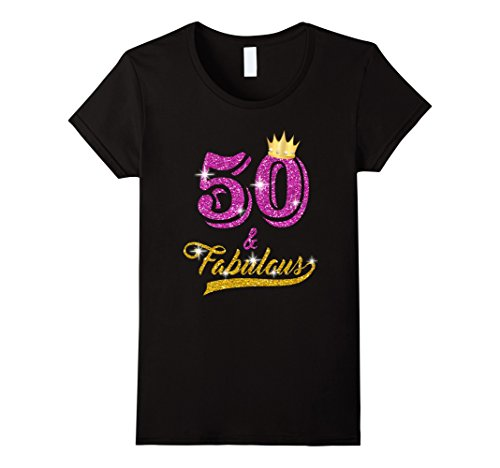 Womens 50 and Fabulous 50 years old B-day 50th Birthday Gift XL Black
