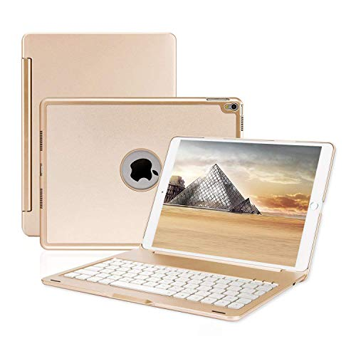 ONHI Wireless Keyboard Case for iPad Pro 10.5 Keyboard Case Aluminum Shell Smart Folio Case with 7 Colors Back-lit, Auto Sleep / Wake, Silent Typing (A1701/A1709)(Gold)