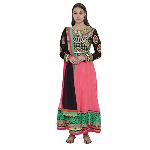 PinkShink Pink and Black Net Long Anarkali Kurti Churidar Dupatta Set su15 ()