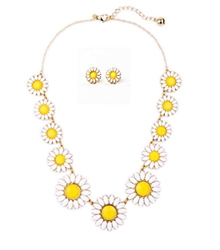 Js Gold Chain Necklace - Peony.T Women's Daisy Flower Gold Chain Collar Necklace Earring Stud Set