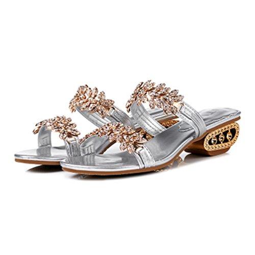 Forme Strass Orteil Paillettes Sandales de Femmes Chaussures Ouverte Mariage Dérapant Talons Anti Argenté Plate JITIAN wY7fq5xII