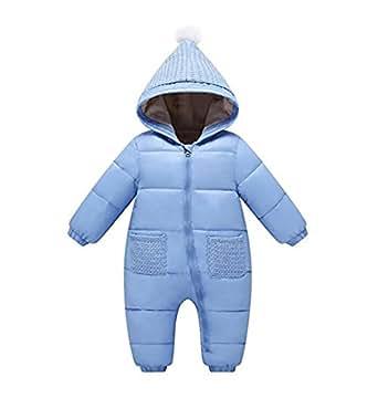 Unisex Baby Boys Girls Winter Puffer Jacket Jumpsuit Warm Fleece Lined Snowsuit Romper Bodysuit (100: 6-12 months, Blue)