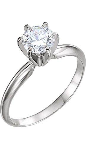 14k Yellow & White Gold 4-4.1mm Round Pre-Notched 6-Prong Solitaire Ring Mounting, Size (Gold Six Prong Solitaire)