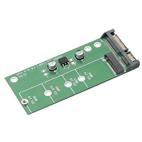 JIUWU AD905A SATA III 3 to M.2 (NGFF) SSD 7+5 Pin Connector Converter Adapter Card ...