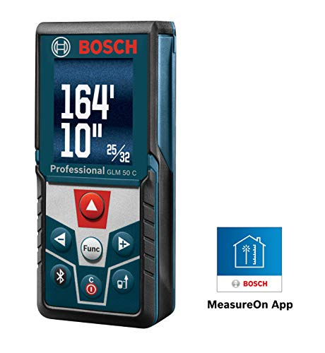 Bosch GLM 50 C Bluetooth Enabled Laser Distance Measure with Color Backlit Display Crown Molding 2 Light