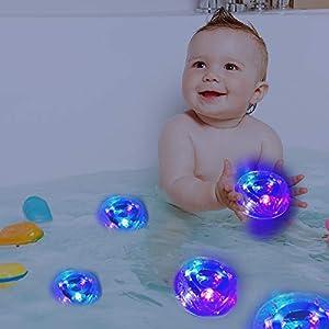 Waterproof LED Bath Light, Bathtub Battery Powered Underwater Light Disco Spa Bathtub Light Swimming Pool Float Lamp LED…