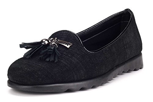 Ladies Comfortable On The Slip Shoe Loafer Flexx Black Leather Chantal gqEEwO0xa