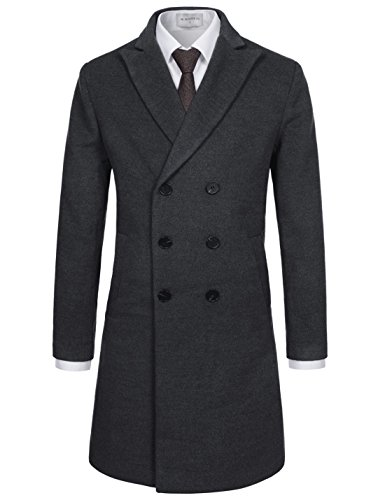 NEARKIN (NKNKDC7053 Mens Peak Lapel Double Breasted Wool Blend Solid Long Coat Charcoal US XL(Tag Size XL)