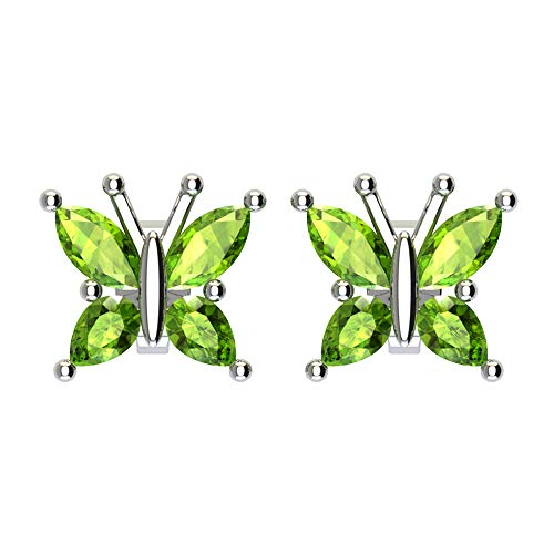 Rhodium Butterfly Earrings - Sterling Silver Marquise Cut 1/2 Carat Natural Peridot Butterfly Stud Earrings with Push Backs, Dainty Butterfly Studs, Rhodium Plated Sterling Silver Stud Earrings for Women