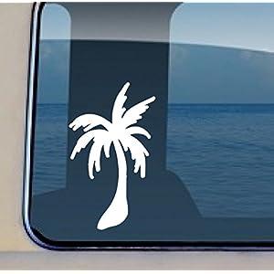 Palm Tree Decal #221 - Vinyl Hawaiian Sticker 4 by 2.5 inch