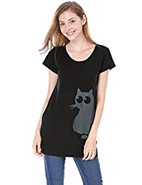 Allegra K Women Round Neck Short Sleeve Cat Prints Loose Tunic Top