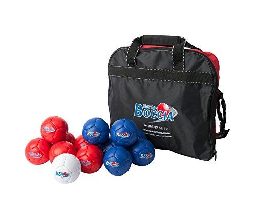 Boccia-Tasche mit 6 roten und 6 blauen Kugeln, handgenäht
