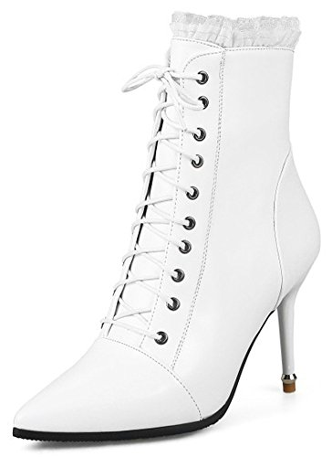 Mofri Women's Sexy Lace Splicing Pointed Toe Ankle Booties High Stiletto Heels Lace up Short Boots with Side Zipper (White, 9 B(M) US)
