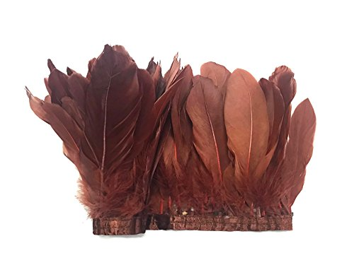 1 Yard - Dark Brown Goose Pallet Parried Dyed Feather Trim Headdress, Dress, Party Craft Supplier | Moonlight -