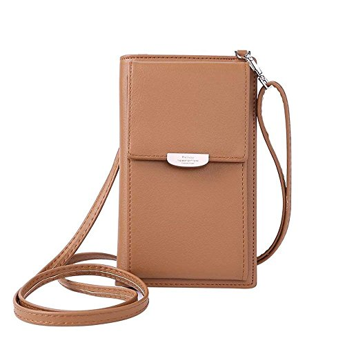 NYKKOLA Womens Wallet Bag Leather Coin Cell Phone Purse Handbag Mini Cross-body Shoulder Bag with Strap Classic Brown