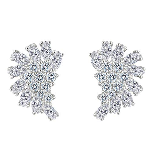 EleQueen 925 Sterling Silver Full Cubic Zirconia Marquise Angel Wing Bridal Stud Earrings (Zirconia Cubic Marquise Stud)
