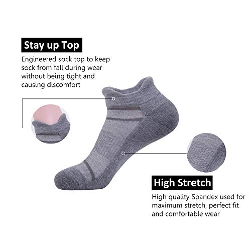 Men's 6 Pack Athletic Ankle Socks with Half Cushion for Running Double Tab Sock by JOYNÉE (Image #2)